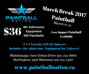 March break advertisement paintball nation